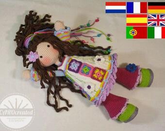Crochet pattern for doll YUNA, pdf  (Deutsch, English, Nederlands, Español, Français, Português, Italiano)