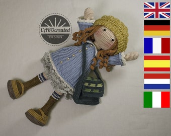 Crochet Pattern for Doll SMILLA, pdf (Deutsch, English, Français, Nederlands, Español, Italiano)