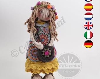 Crochet Pattern for Doll VANIA, pdf (Deutsch, English, Français, Nederlands, Español, Italiano)