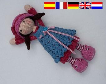 Crochet pattern for doll CELINE (Deutsch, English, Français, Español, Nederlands)