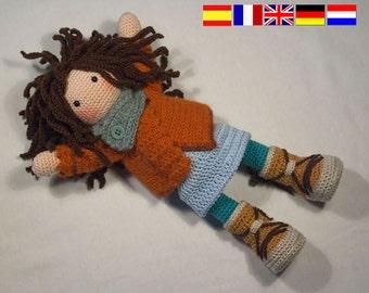 Crochet pattern for doll MONJA (Deutsch, English, Français, Español, Nederlands)