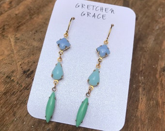 Teal and turquoise dangles