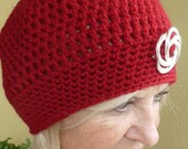 Red crochet hat // red winter beanie // handmade and original women's winter accessories