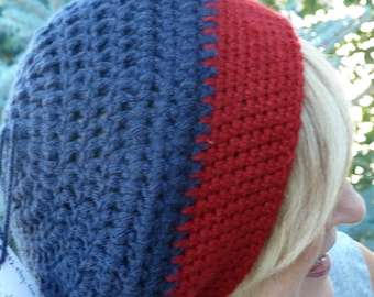 Slouchy winter beanie, women's winter crochet tam, unique crimson and blue, great team hat, original handcrafted woman's hat, gift for her