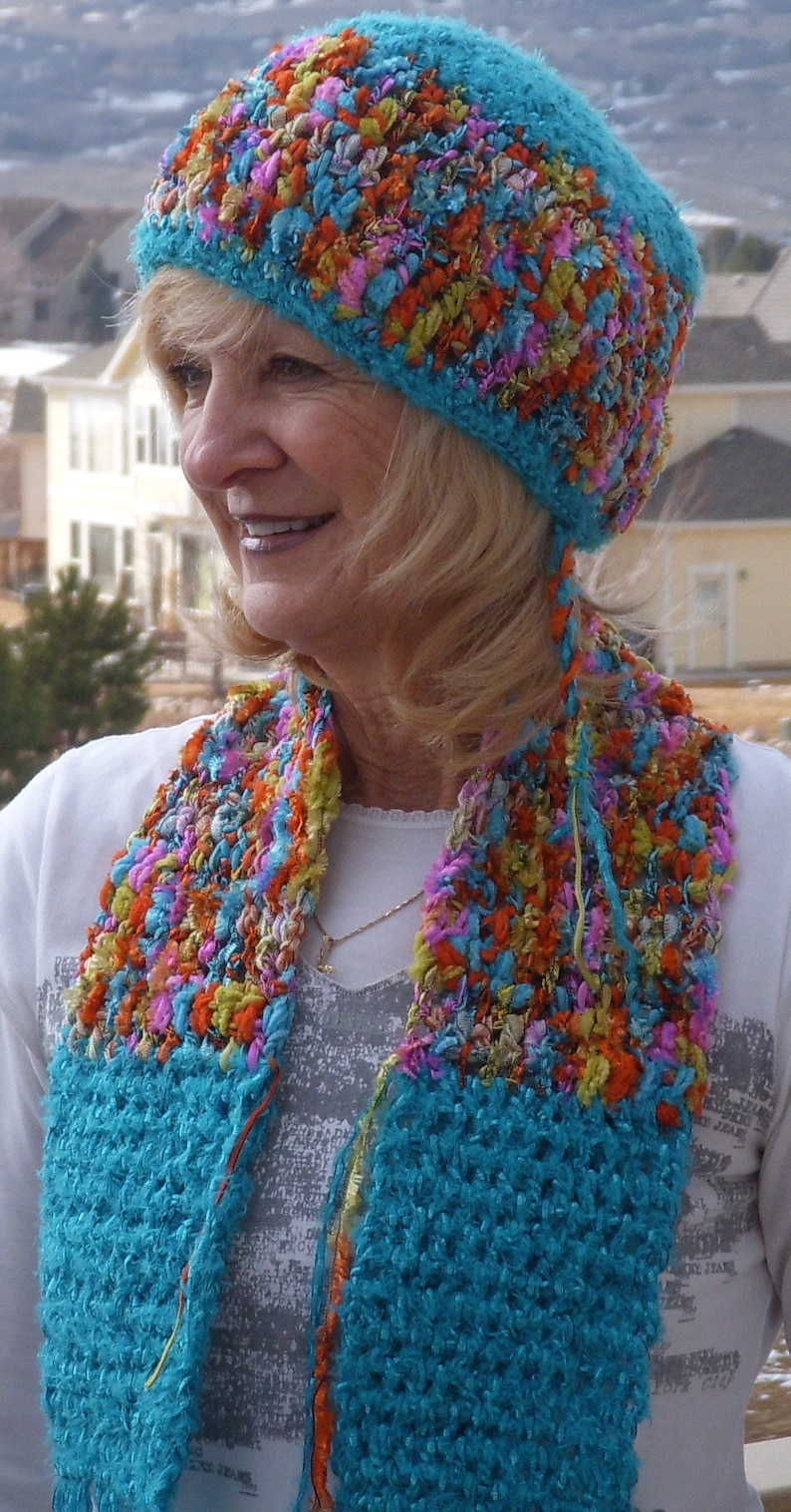 Bohemian accessories handmade crochet hat scarf crochet hat scarf ribbon yarn scarf and hat women/'s winter accessories