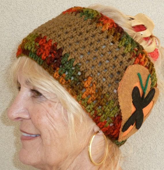 Bandeau d'hiver pour les femmes ou bandeaux teen, créatif avec un style unique, bandeaux Bohème, original bandeau marron, modes des femmes