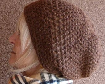 Slouchy brown winter hat for women, winter crochet hat made with quality and style, made for women or teens, great winter accessory