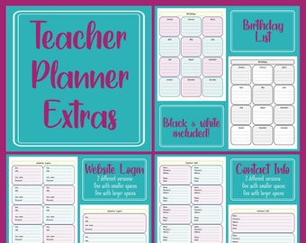 Preschool Planner Extra Pages - Birthdays, Contacts, Websites