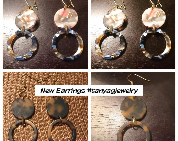 Matte Round Tortoise Shell and Garden Party Earrings