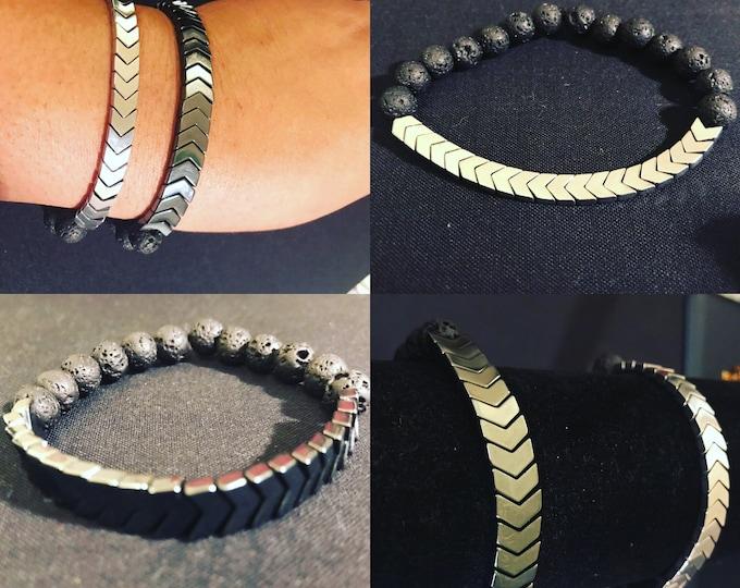 Chevron Lava Beaded Essential Oil Bracelet