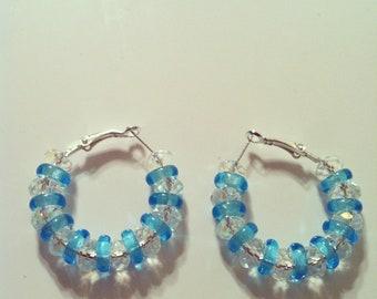 Blue Ice Hoop Earrings