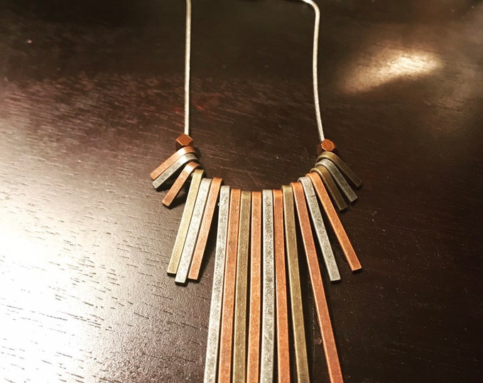 Mixed Metal Stick Necklace