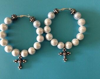 Silver Moon Cross Glow Earrings