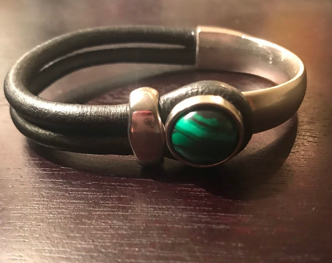 Silver Malachite Half Bracelet