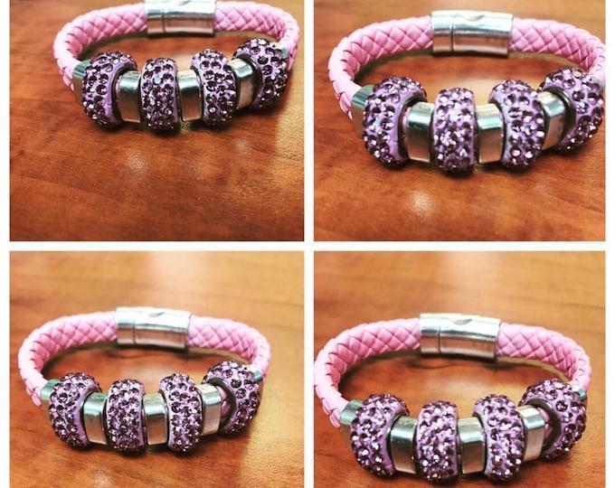Pink Ice Leather Bracelet