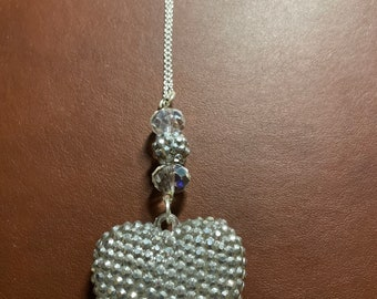 Silver Pave Sparkle Heart Necklace