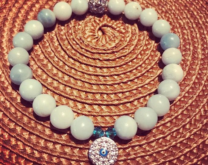Evil Eye Amazonite Bracelet