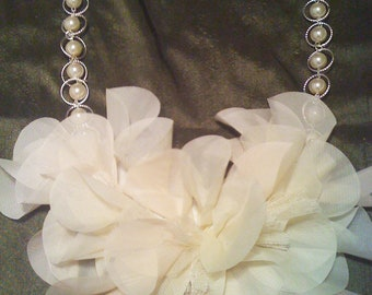 Delicate Flower Bib Necklace