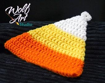 Crochet Candy Corn Potholder, Double Thick Potholder, Candy Corn, Crochet Potholder, Orange/Yellow/White Potholder
