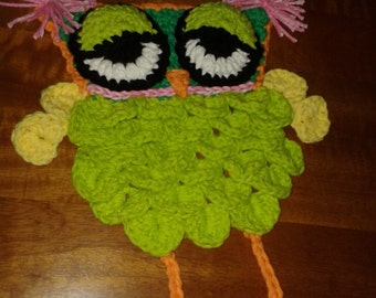 Crocheted Designer Owl Hot Pad