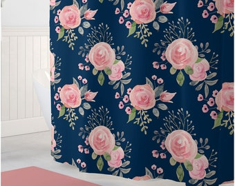 Floral Shower Curtain Navy And Coral Girls Room Decor Bathroom Art Bath Mat Towel Watercolor