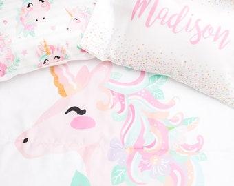 toddler bedding set unicorn toddler room toddler comforter duvet cover room decor toddler pillowcase set personalized pillow name - Toddler Bedding Set