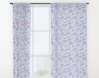 Mermaid Curtains Scales Purple And Teal Nursery Girl Decor Toddler Room Set Crib Bedding