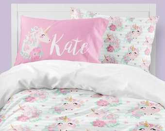unicorn bedding girls room duvet cover comforter queen king twin pink purple pillowcase with name custom personalized room decor - Unicorn Bedding