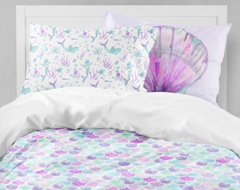 Mermaid Twin Bedding, Toddler Comforter, Duvet, Mermaid Scales, Seashell, Kid  Bedding Set, Queen, King, Pillowcase Set, Toddler Room, Purple
