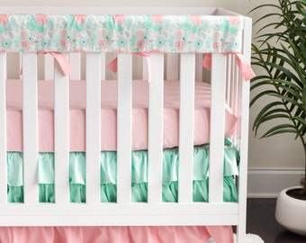 Bumperless Baby Girl Crib Cot Bedding made with Sweet Nostalgia Reminisce Fabric Antique Floral Emerald Mint Peach Cream Coral