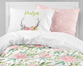 Floral Toddler Bedding, Twin Bedding, Comforter, Dorm Bedding, Duvet Cover,  Pillowcase Set, Teen Bedroom, Watercolor Floral, Twin XL, Pink