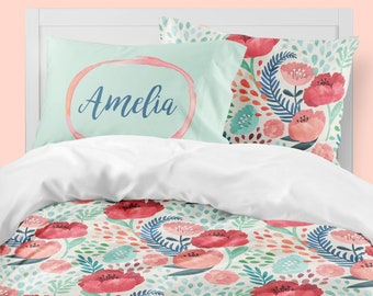 Floral Girls Room, Girls Bedding, Twin Duvet Covers, Toddler Comforter, Girl  Queen Duvet Cover, Bedding Sets Kids, Teen Bedding, Coral, Mint