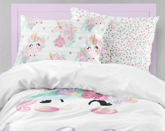 Unicorn Toddler Room, Pillowcase Set, Girls Room Decor, Duvet Cover,  Comforter, Pink, Purple, Mint, Gold, Twin, Queen, King, Bedding Set