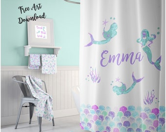Mermaid Shower Curtain Personalized Kids Bathroom Bath Mat Towel Room Decor Girls Scales