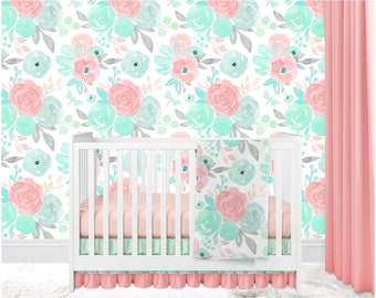 baby girl crib bedding floral crib bedding watercolor floral pastel flowers salmon coral mint boho crib bedding floral crib bumpers - Baby Girl Crib Bedding