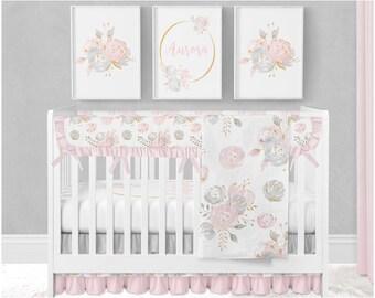 baby girl crib bedding floral crib bedding watercolor floral pink blush gold gray boho crib bedding floral nursery - Baby Girl Crib Bedding
