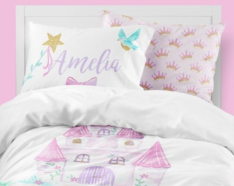 princess girls room fairy tale toddler bedding set twin comforter castle queen duvet cover personalized pillowcase ever after - Toddler Bedding For Girls