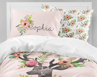 Woodland Boho Girls Room, Floral Girls Bedding, Twin Duvet Covers, Toddler  Comforter, Queen Duvet Cover, Bedding Sets Kids, Teen Bedding