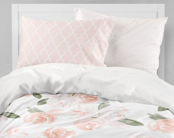girl bedding set watercolor floral twin bedding blush pink toddler bedding floral comforter dorm bedding toddler sheet pillowcase - Toddler Bed Sets