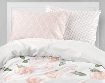 Girl Bedding Set, Watercolor Floral, Twin Bedding, Blush Pink, Toddler  Bedding, Floral Comforter, Dorm Bedding, Toddler Sheet, Pillowcase