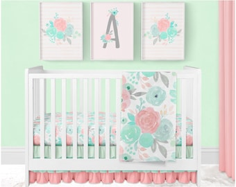 Floral on White and Coral Herringbone Baby Crib Set with Fitted Crib Sheet Teal Flowers in Pink Skirt and Blanket Seafoam Yellow