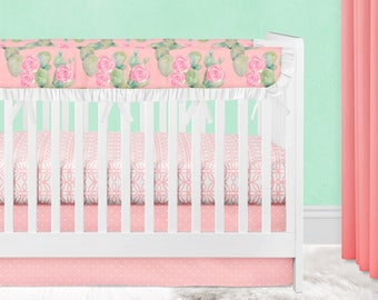 756e7ff03 Girl Crib Bedding, Floral Baby Bedding, Cactus, Boho, Desert, Pink, Mint,  Green, Crib Skirt, Crib Sheet, Rail Guards, Girl Nursery