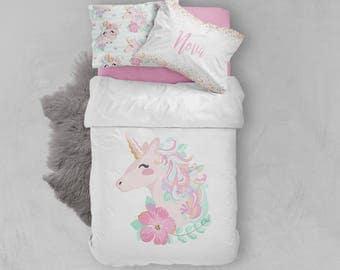 Girls Room, Unicorn, Bedding Set, Toddler, Twin, Full, Queen, King, Duvet  Cover, Comforter, Pillowcase Set, Sheet Set, Name Pillowcase, Gift