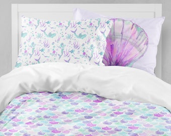 Mermaid Twin Bedding, Toddler Comforter, Duvet, Mermaid Scales, Seashell,  Kid Bedding Set, Queen, King, Pillowcase Set, Toddler Room, Purple