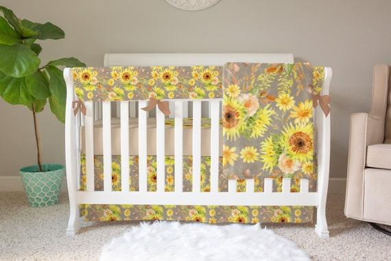 Baby Girl Crib Bedding Sunflower, Sunflower Crib Bedding
