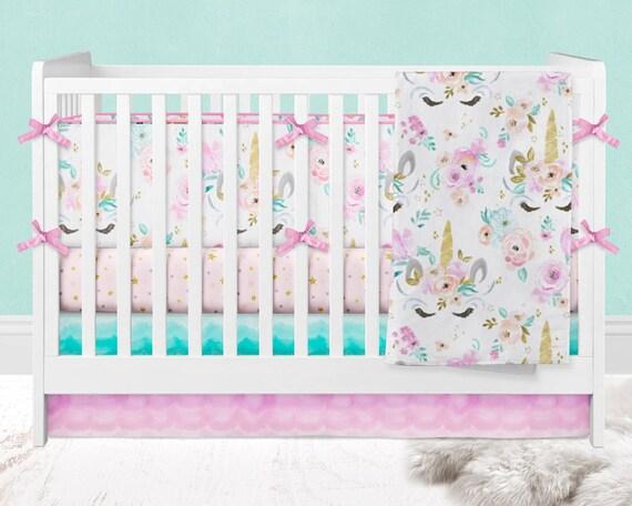 Crib Bedding Girl Floral Unicorn Crib Bumpers Crib Sheet