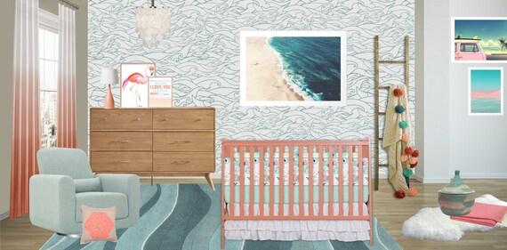 Madchen Kinderzimmer Flachenvorhange Ozean Meer Kusten Etsy