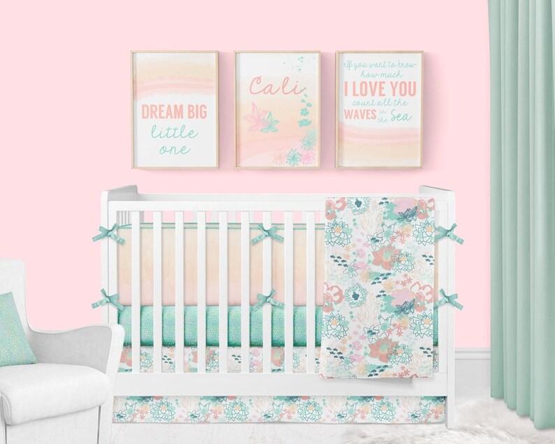 Ocean Baby Girl Nursery Crib, Beach Baby Crib Bedding