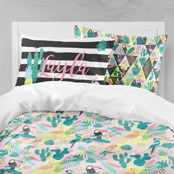 Girl Room Twin Comforter Tropical, Pink And Mint Twin Bedding