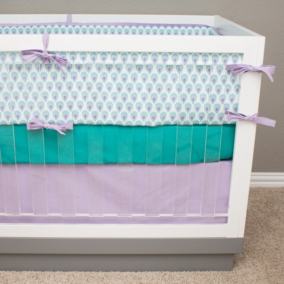 peacock crib bedding purple and teal baby girl bedding etsy. Black Bedroom Furniture Sets. Home Design Ideas